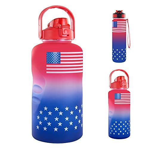 128 oz Water Bottle with Time Marker & Straw, 1 Gallon Sport Water Bottle with American Flag, Water Bottle BPA Free Ensure You Drink Enough Water Daily