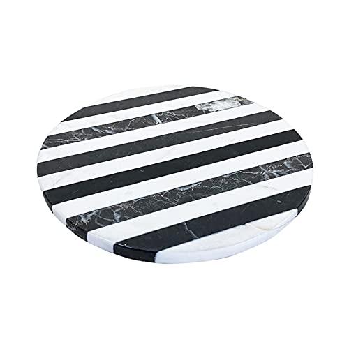NZKW Bandejas Decorativas de 30 cm, bandejas de mármol con Rayas Blancas y Negras Durables y fáciles de Limpiar Cocina casera Mini Tabla de Cortar Bandejas de Toallas de baño Soportes p