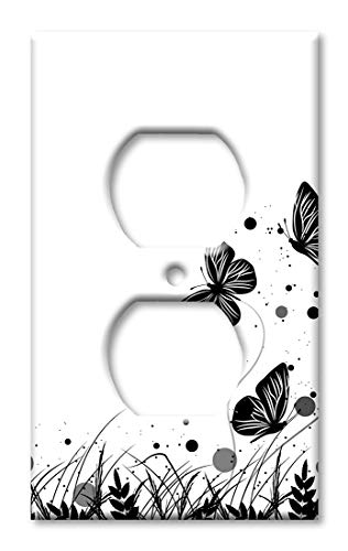 Art Plates Over Sized Outlet Cover/Oversize Outlet Switch Plate - Black & White Butterfly