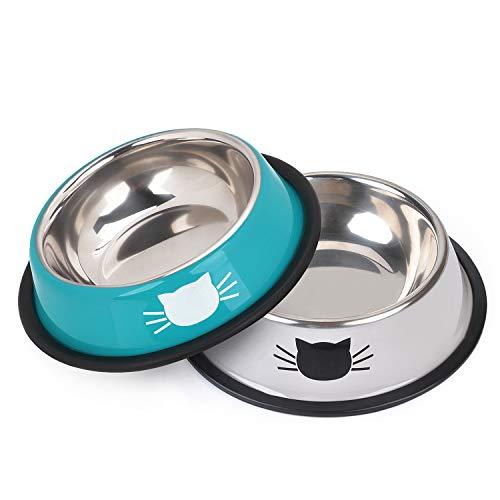 Legendog Futternapf Katze, 2 Stück Edelstahl rutschfest Katzen Napf | Katzenfutter Wassernapf Schüssel (blau)