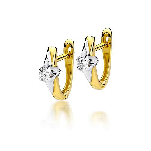 Pendientes para mujer de oro amarillo 585 de 14 quilates, diamantes brillantes