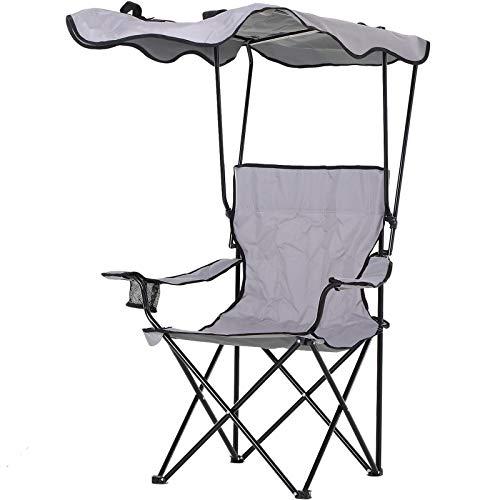 HOMCOM Chaise de Camping Pliable Grand Confort Pare-Soleil + Porte-gobelets intégrés, possibilité d'être portée en Sac à Dos Gris Noir