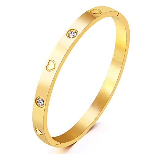 Christmas Gift MVCOLEDY Jewelry Yellow Gold Plated Bangle Bracelet Set In Heart and Stone Stainless Steel With Crystal Bangle Bracelets for Women Jewelry Size 6.7'