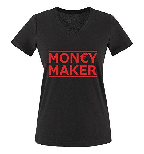 Comedy Shirts - Money Maker - Damen V-Neck T-Shirt - Schwarz/Rot Gr. XXL