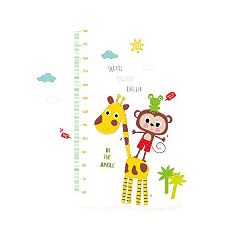 Winhappyhome Giraffe Monkey Children's Height Measurement Chart Autocollants pour Kids Room Pépinière Background Amovible Décor Décalcomanies