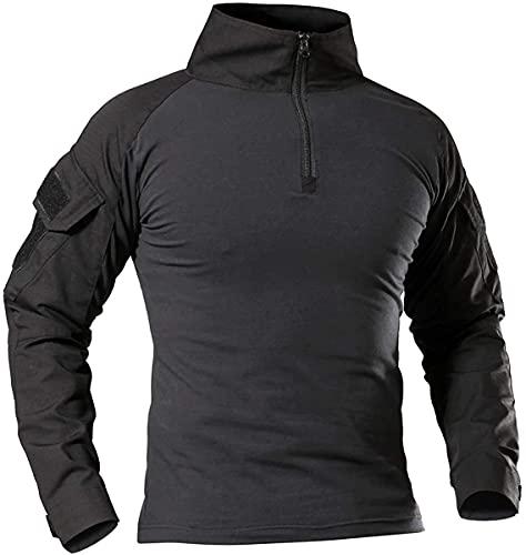 Memoryee Camisa de Manga Larga de Combate Militar del ejército táctico para Hombres Camiseta Slim fit de Camuflaje con Cremallera 1/4 y