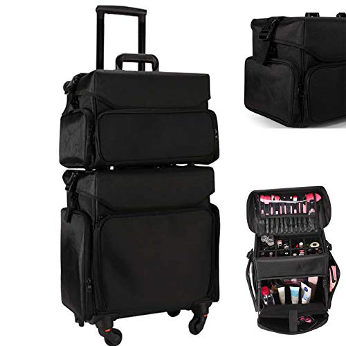 XXLHH Oxford cloth Rolling Cosmetic Case,High-grade Makeup artist's toolbox,Make-up Luggage Suitcase bag,Makeups trolley box