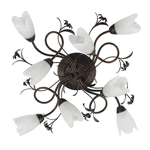 MW-Light 323013708 Lampadario da Soffitto Decorativo Colore Marrone a Forma di Fiore 8 luci x 60W E14