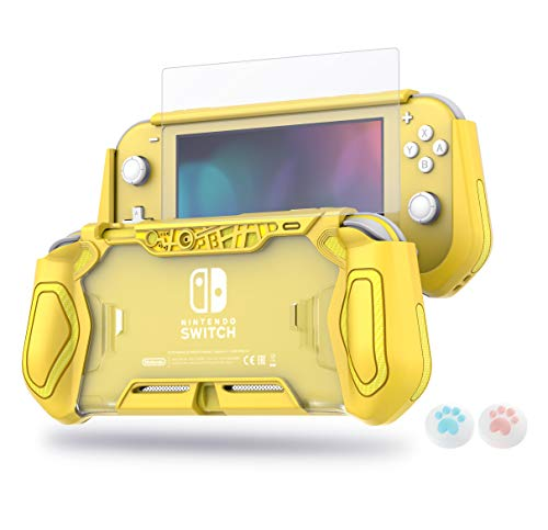 LeyuSmart Protector Cover Case with Tempered Glass Screen Protector and Thumbstick Caps for Nintendo Switch Lite, Yellow Color