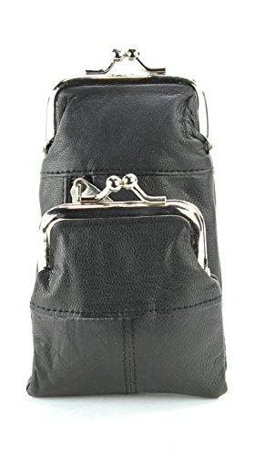 Bacci L.I. Womens Genuine Leather Cigarette Case & Lighter Holder with Twist Clasp Change Purse (Black)