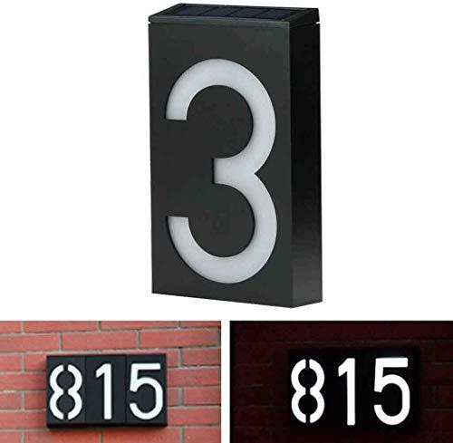 Metdek Placa LED solar para número de casa, dirección de hotel, número de casa, números, placa de lámpara, para exterior, hogar y decoración de pared (3)