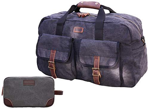 Iblue Oversized Heavy Duty Canvas Genuine Leather Trim Travel Tote Duffel Shoulder Weekend Bag Weekender Overnight Carryon Pockets Handbag,#B09 (Dark Grey M size -17.7IN)