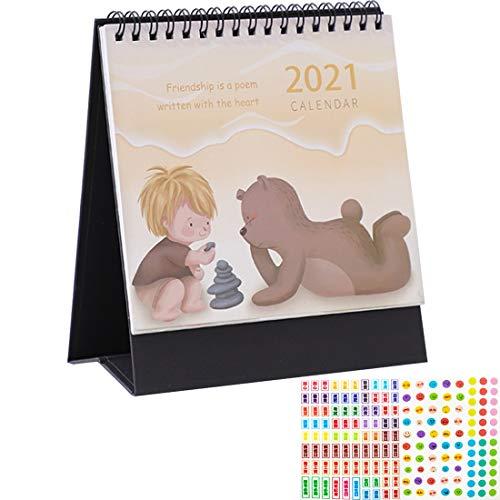 Calendario de Escritorio 2021 YUESEN Calendario Escritorio Con Pegatinas Planificador semanal y lista To-do 2021 año para Organización y Planificación, un Diseño Diferente Cada Mes16x15x7.5cm