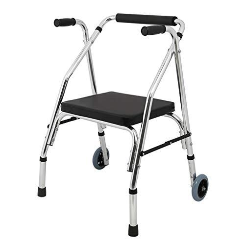 LDG Rollator trolley loophulp ultra lichtgewicht rollator met 2 wielen riemschijf met zitting antislip voor ouderen/mensen met ingesloten mobiliteit/revalidatie