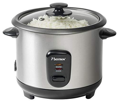 Bestron Grand cuiseur à riz avec panier vapeur et fonction maintien au chaud, 1 L, 400 W, Acier inoxydable