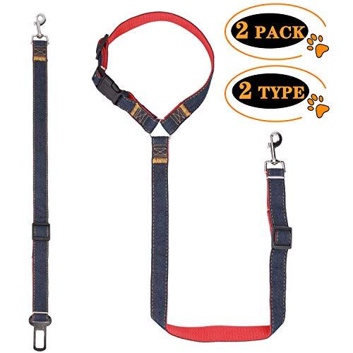 PEMOTech Hunde Sicherheitsgurt, Einstellbare Nylon Material Heavy Duty Hundeleine Führt Auto Sicherheitsgurt mit Metallschnalle für Hund Auto Restraint Harness ((2er Pack, schwarz))