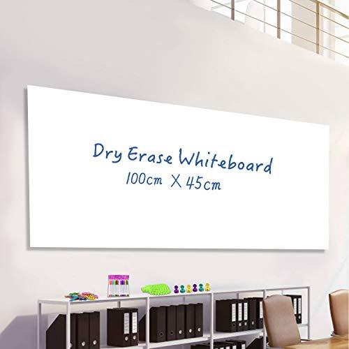 Pizarra Blanca Pizarra Pared Adhesiva Pizarra Blanca Magnética Tablero para Oficina, Hogar, 100 x 45cm, incluye 15 números magnéticos, 12 marcadores de tiza, 6 imanes y 1 borrador