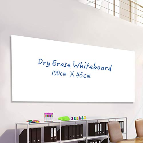 Whiteboard-Folie selbstklebend 100 x 45cm, Magnetisches Whiteboard mit 14 Magnetnummern, 12 Kreidemarker, 6 Magnete und 1 Radiergummi