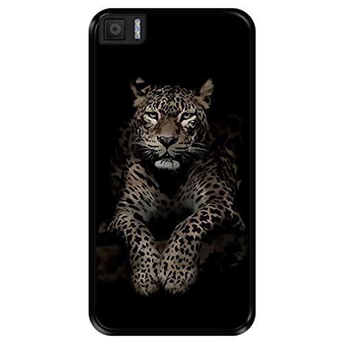 Hapdey Funda Negra para [ Bq Aquaris M5.5 ] diseño [ Leopardo, Mirando ] Carcasa Silicona Flexible TPU