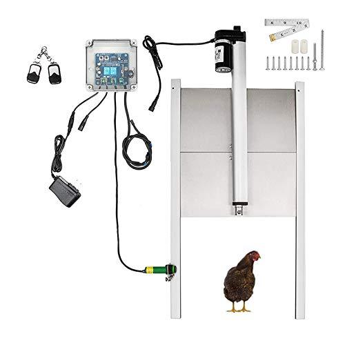 TZUTOGETHER automatique ouvre-porte de poulailler Kit,avec capteur de lumière/minuterie,porte automatique de poulailler avec télécommande,Étanche&Limite automatique&Fonction d'arrêt d'urgence