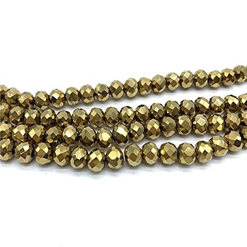 Joyería para hacer 4 x 6 mm/300 cuentas de cristal facetadas sueltas espaciadoras redondas para hacer joyas DIY para pulseras de bricolaje (color: oro, diámetro del artículo: 4 x 6 mm, 50 unidades)