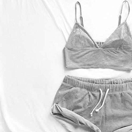 JFCDB Zomer pyjama,Dames Nachtkleding Set VestKorte broeken Nachtkleding Dames Vrijetijdskleding Ondergoed 2PCS Pyjama Sets, grijs, XL