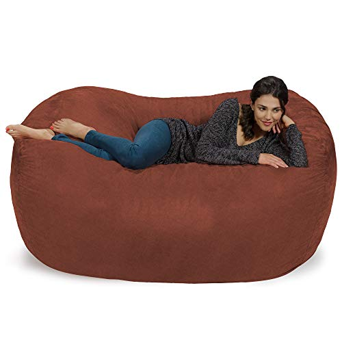 Chill Sack Bean Bag Chair: Huge 6' Memory Foam Furniture Bag and Large Lounger - Big Sofa with Soft Faux Linen Cover - Linen Brown