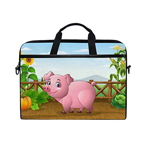 EZIOLY Cartoon Pig With Farm Laptop Shoulder Messenger Bag Case Sleeve for 13 Inch to 14 inch Laptop
