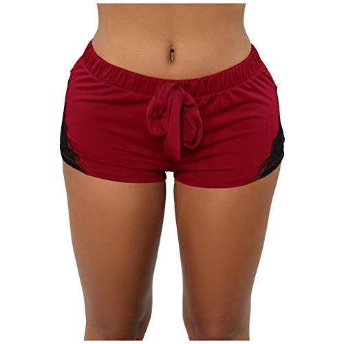 Lazzboy Leggings Shorts Damen Lace Elastic Out Mit Hoher Taille Enge Sport Yoga Short Pants Yogahosen Sporthose Tights Laufhose Taschen Dehnbar Jogginghose Fitness(Rot,L)