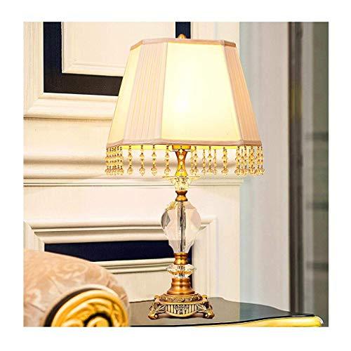 LJ Schreibtischlampe Leselampe Tischlampe Wohnzimmer Dekor Schlafzimmer Nachttischlampe Moderne Nachttischleuchte Schreibtischlampe Stoffschirm Kristall Nachttischlampe