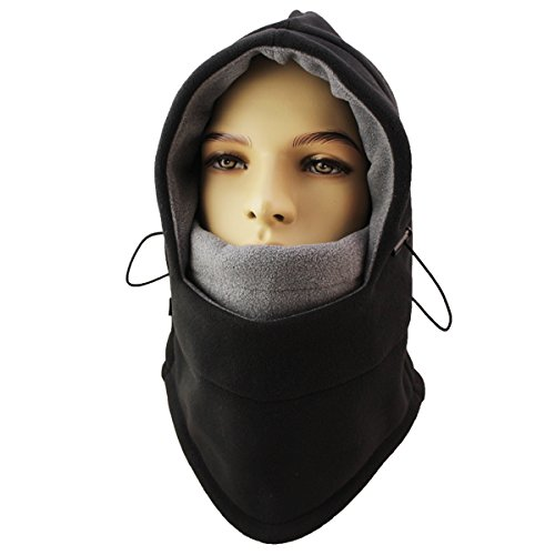 Miracu Heavyweight Balaclava Windproof Ski Face Mask, Women and Men Soft Fleece Winter Hat/Hood for Outdoor Sports,One Size,Black & Gray