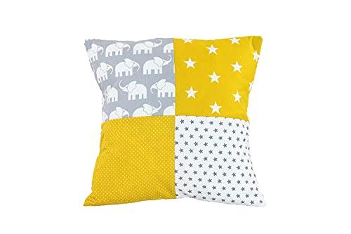 Funda patchwork para cojín de ULLENBOOM ® con elefantes amarillo (funda para cojín de 40x40 cm; 100% algodón; ideal como cojín decorativo para la habitación de los niños)