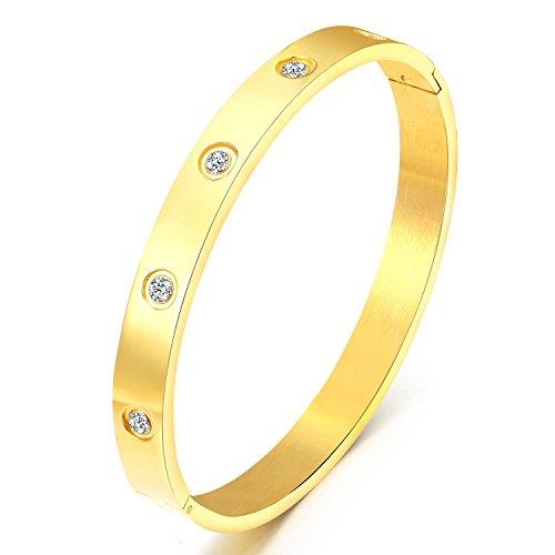 Mocalady Jewelry Armreif-Set aus Edelstahl mit Kristallen, 18 Karat Roségold, gold, L