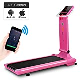 Goplus Electric Folding Treadmill, Free-Install Design, with APP Control and Touch Screen, Adjustable Incline and 90° Folding Running Machine, Perfect for Home use (Pink)