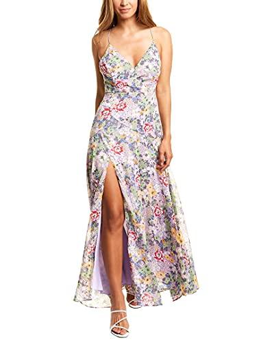 ASTR the label Women's Sleeveless Plunging V-Neck Side Slit Pandora Maxi Dress, Lavender Multi Floral, XS