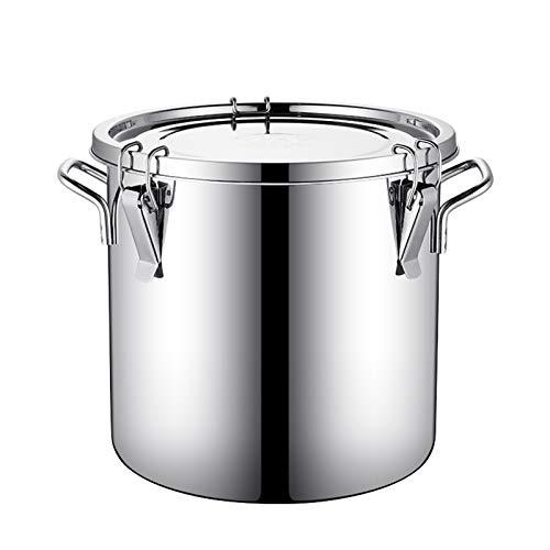 Recipiente hermético para leche de acero inoxidable con tapa, tanque de fermentación de gran capacidad, barril sellado engrosado, puede contener vino/aceite/leche, etc. líquido (tamaño: 50 L)