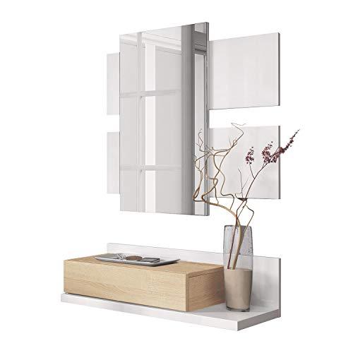 Habitdesign Recibidor con cajón y Espejo, Mueble de Entrada, Modelo Tekkan, Acabado en Blanco Artik y Roble Canadian, Medidas: 75 cm (Ancho) x 116 cm (Alto) x 29 cm (Fondo)
