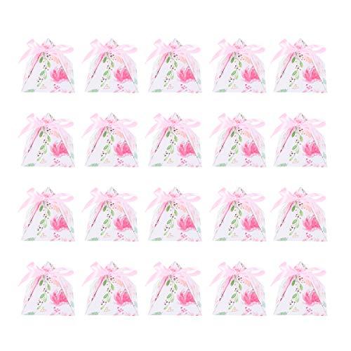 NUOBESTY - Cajas de caramelos con diseño de flores triangular, caja de regalo, caja de regalo para baby shower, decoración de fiesta, cumpleaños, boda, 50 piezas (rosa)