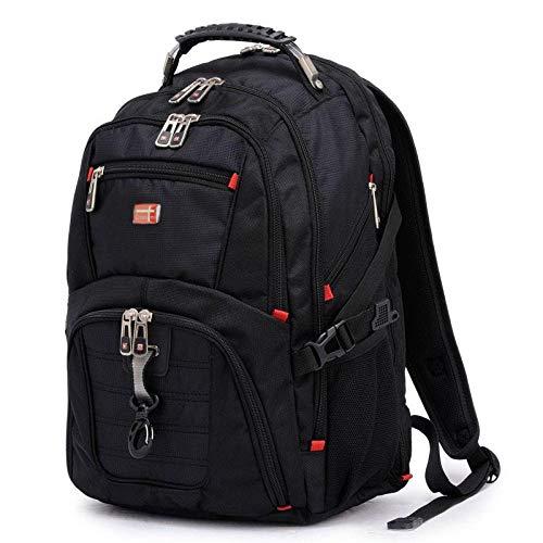 HONGHUIKE Backpack Crossten Swiss Multifunctional 17.3inch, Laptop Backpack Sleeve Case Bag Waterproof with USB Charge Port Schoolbag Hiking Travel Bag (Color : Black-17 inch)