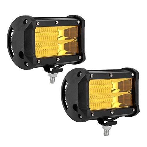 Luz de trabajo para coche, luz LED universal de 144 W, 48 piezas, chips, fila doble con accesorio de montaje, 6000 K, IP68, resistente al agua(Luz amarilla)