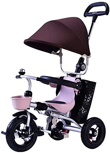Triciclo Evolutivo Toral Carrito de bebé 1-3 años de edad Bebé Triciclo Cochecito plegable Bebé ajustable Bolsa de almacenamiento de freno Detachable de la barandilla Carro de bebé Carro de bebé (Colo