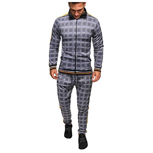 Mens Autumn Plaid Printed Zipper Sweatshirt Top Pants Sets Sports Suit Tracksuit Gray