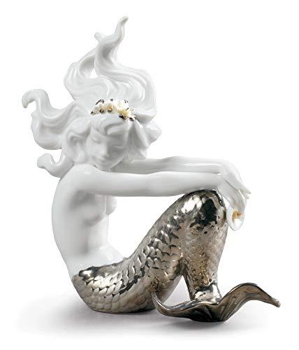 LLADRÓ Figur K.Meerjungfrau D.A.Auf D.Knienature Silber. Meerjungfrau. Porzellan.