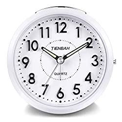 PROKING Travel Analog Alarm Clock,Silent Non Ticking Simple Battery Operated Wake Alarm Clock for Kids,Snooze and Light Functions Bedside Table Wake Alarm Clock (White)