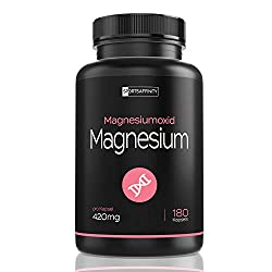 Magnesium high dose - Magnesium oxide 420mg elemental pure magnesium per capsule - Higher content than magnesium citrate powder bisglycinate and glycinate complex - 180 capsules