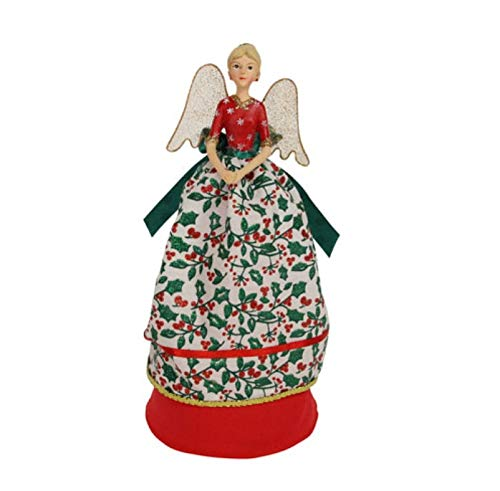 Gisela Graham Green Holly With Red Leaves Pretty Fairy Tree Topper