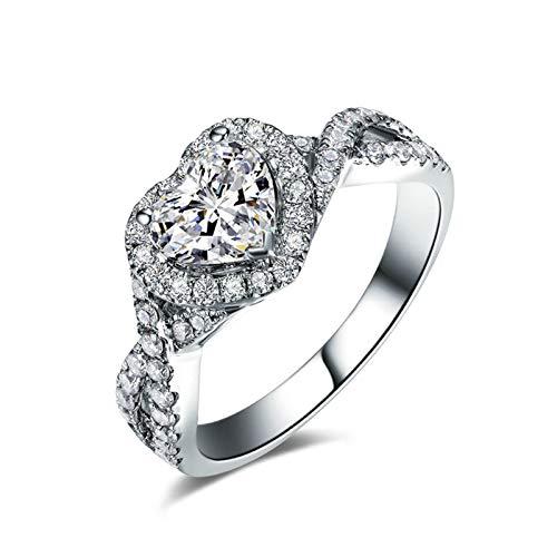 Daesar Anillos Mujer Oro Blanco 18K,Anillo de Mujer Plata Corazón 0.5ct Diamante Blanco 0.25ct Anillo Talla 25