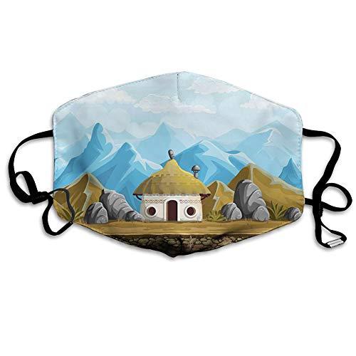 Multifunktionale Gesichtsschutzhülle,South African Style Tribal Hut Houses in The Edge of High Mountains and Big Rocks,edruckte Wiederverwendbare Unisex-Gesichtsdekorationen,Persönlicher Schutz