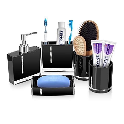 Cocoarm 5-Stück Badezimmer Set, Bad-Accessoires-Set aus Harz Einschließen Lotion-Flaschen Zahnbürstenhalter Zahn-Becher Seifenschale für das Hauptbad oder Gäste (schwarz)
