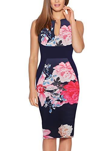 Fantaist Women's Sleeveless Pretty Floral Midi Slim Wiggle Bodycon Pencil Dress (L, FT601-Navy)